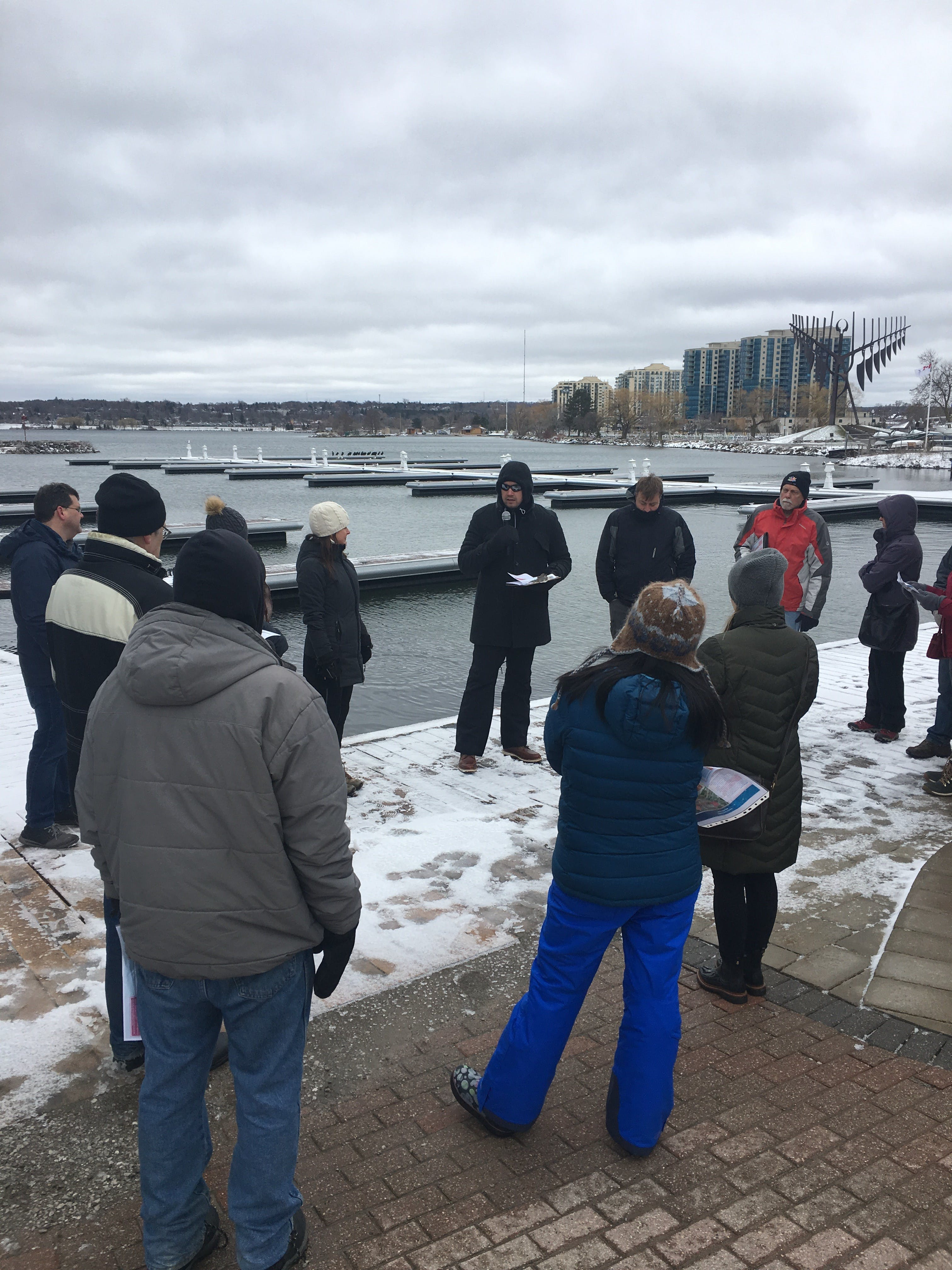 Group discussion during the Waterfront City Walk on Saturday April 27.