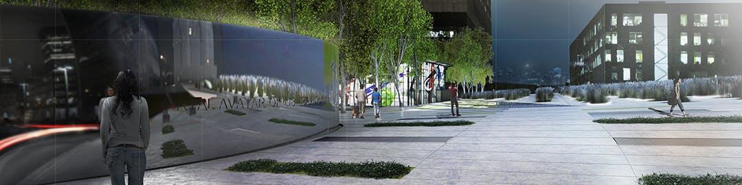 Concept lauréat - Entrée depuis l'avenue de l'Hôtel-de-Ville vers le métro