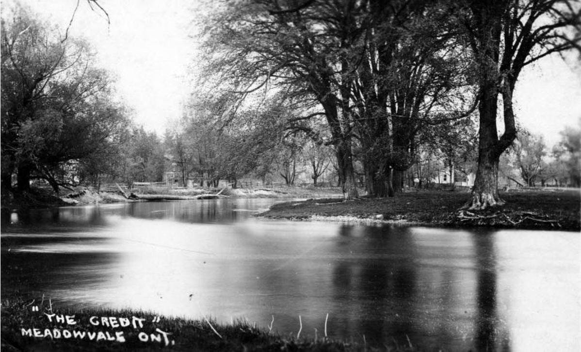 The Credit River flowing through Meadowvale, circa 1910