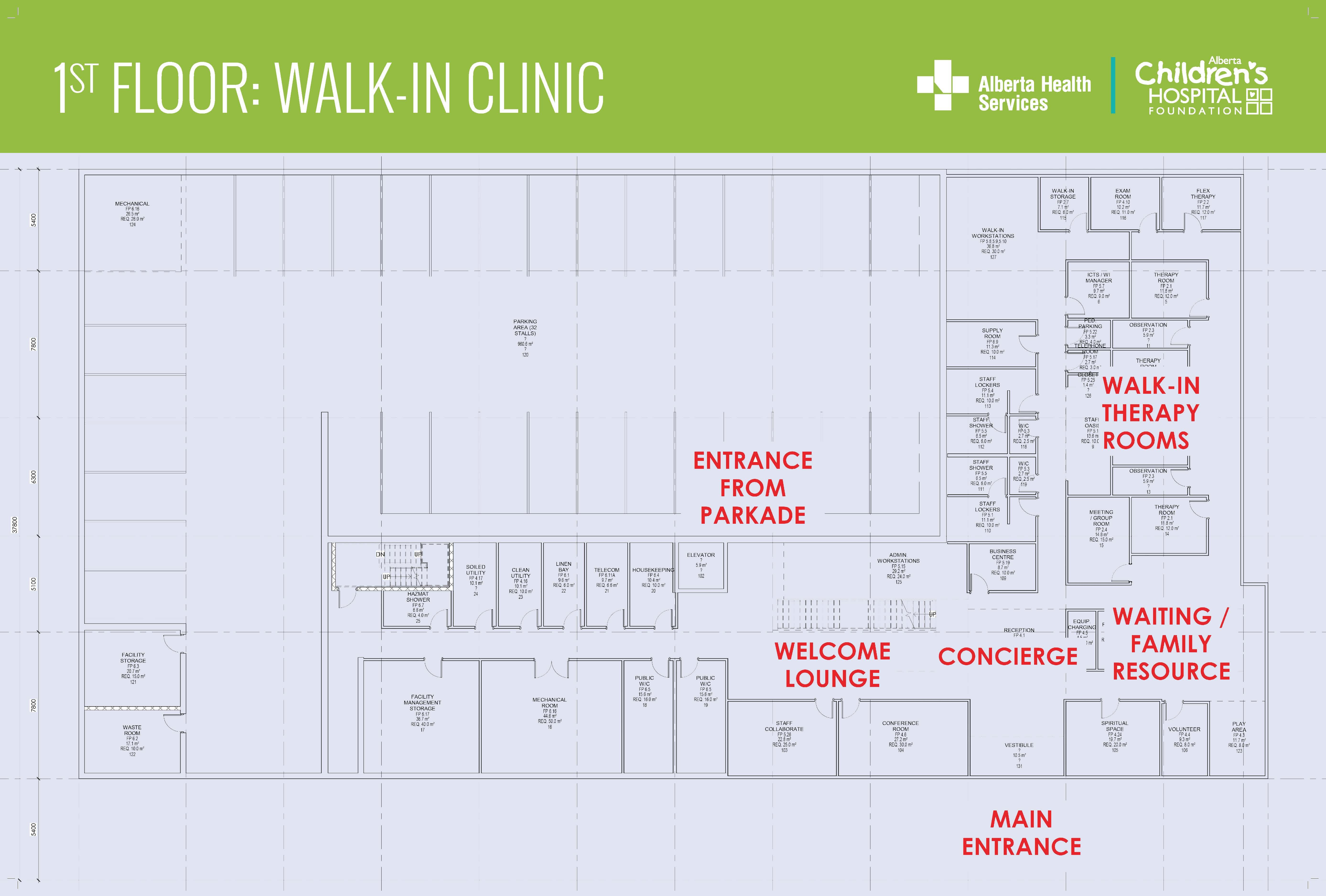 Walk-in clinic floor plan