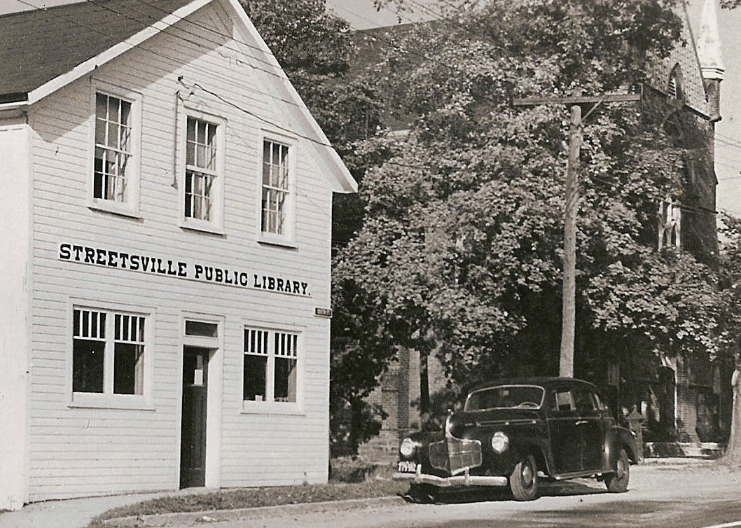 Frame building that housed the Streetsville Public Library between 1902 and 1967, built circa 1860, photo taken circa 1950