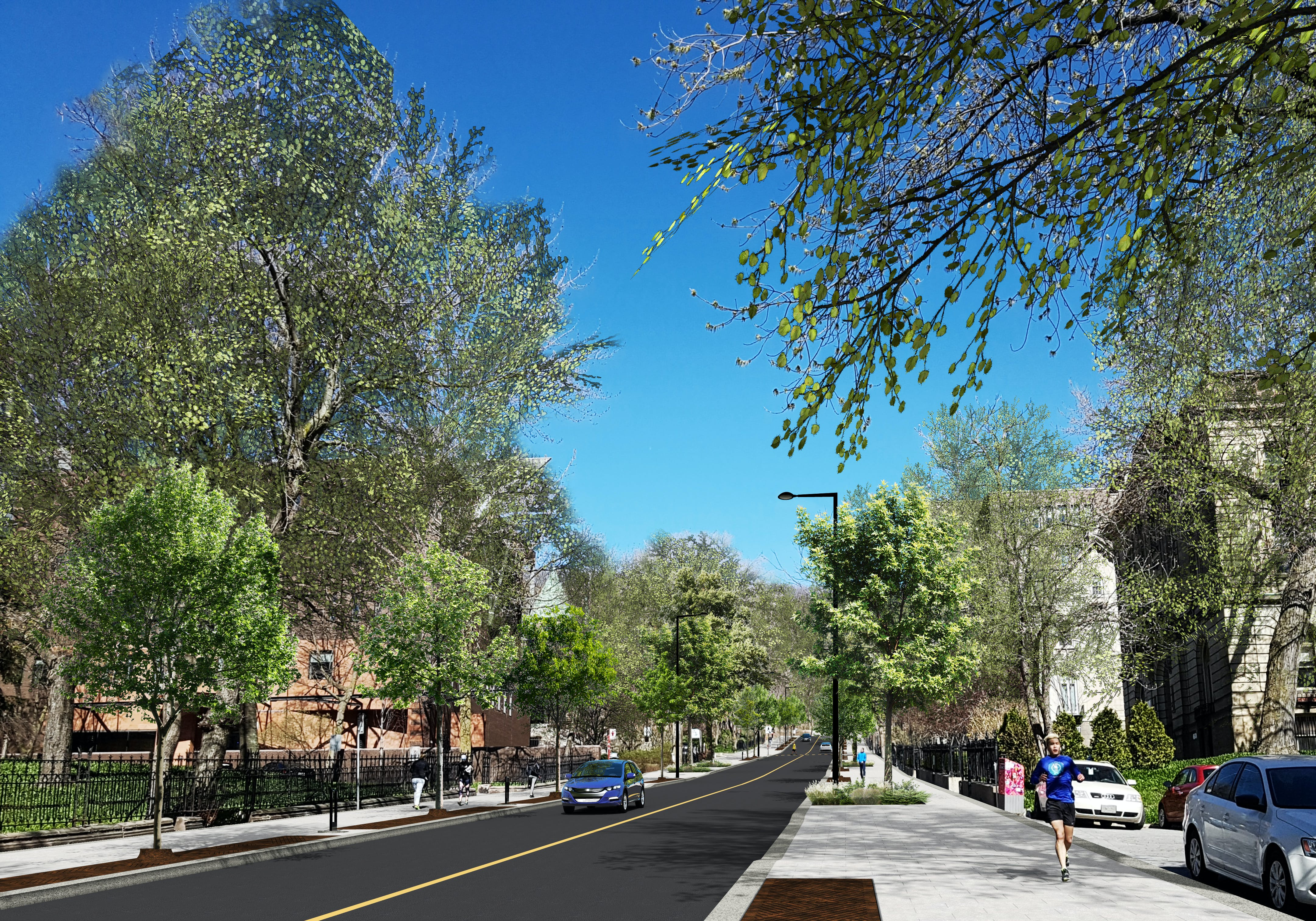 Perspective du réaménagement de la rue Peel, au nord de la rue Sherbrooke