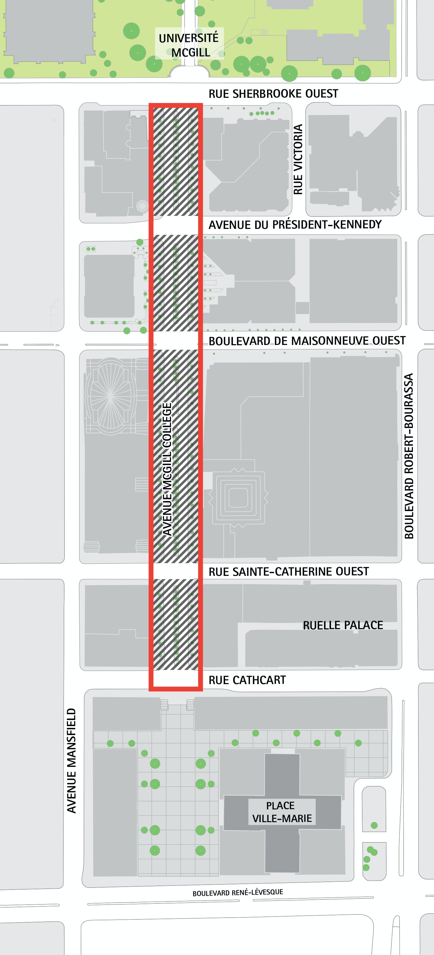 Area of action of the McGill College project