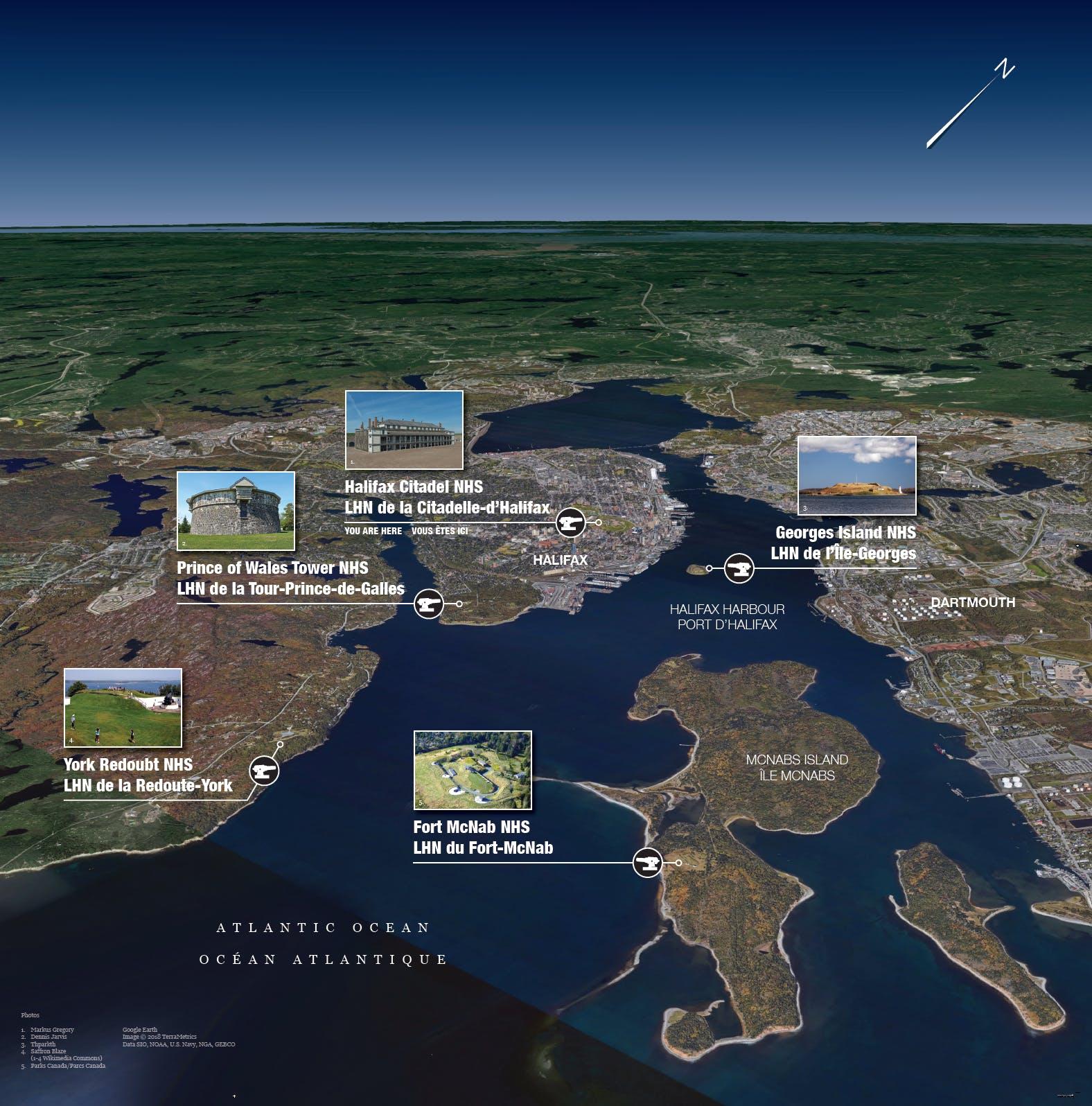Les cinq lieux historique nationaux du Complexe de défense d'Halifax