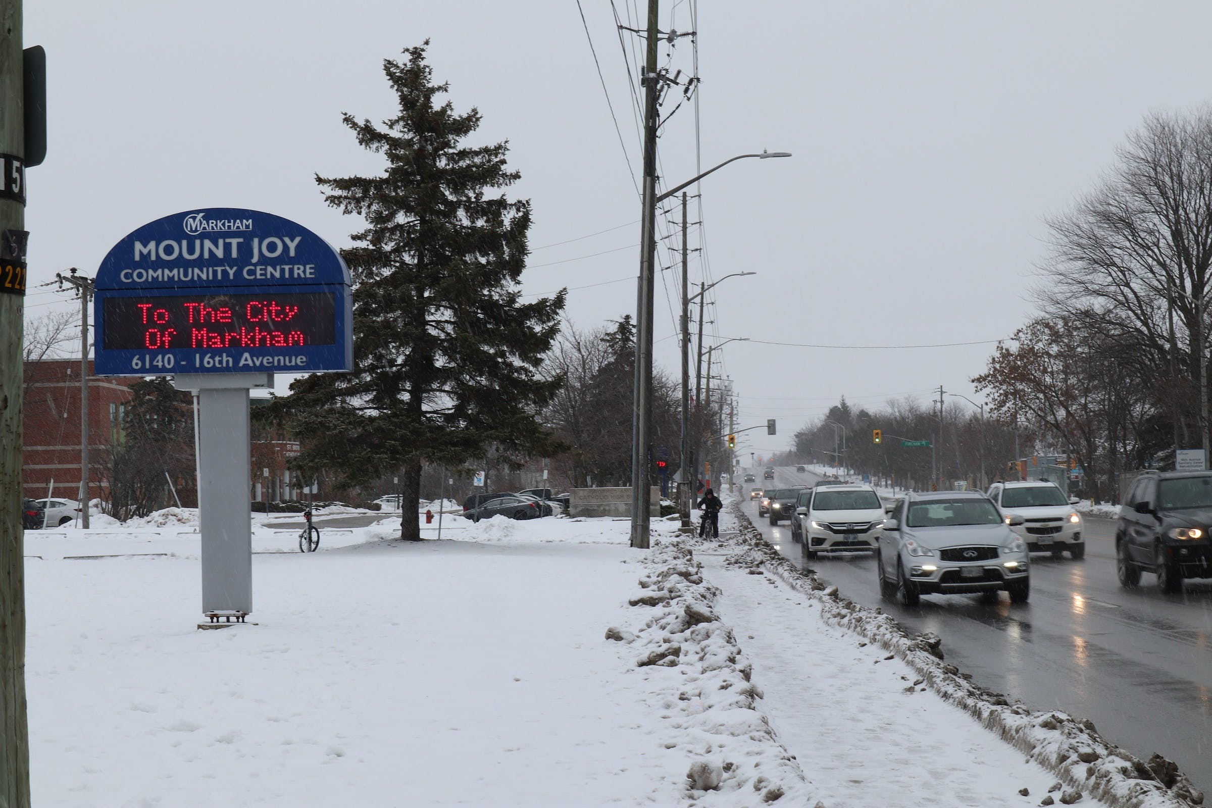 16th Avenue looking east toward the Mount Joy Community Centre