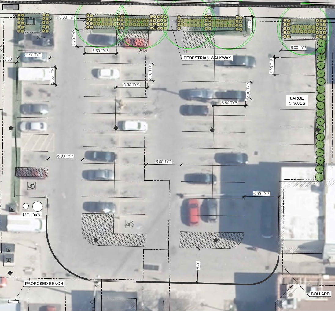 Option 2 for reconstruction of municipal parking lot