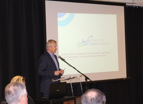NSHA Board Chair Frank van Schaayk welcoming people to 'We're Here to Listen Cape Breton'. (Sydney. March 2019)