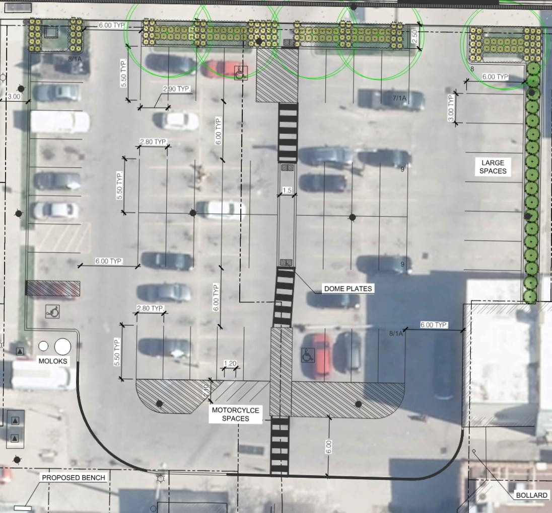 Option 1 for reconstruction of municipal parking lot