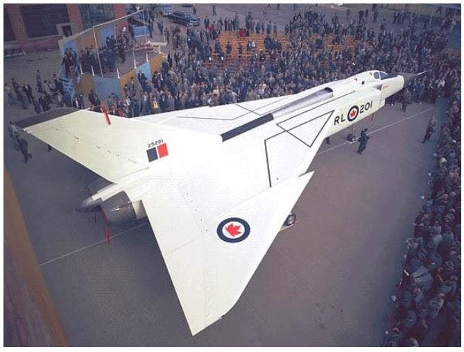 Roll out of the AVRO Arrow, 1957