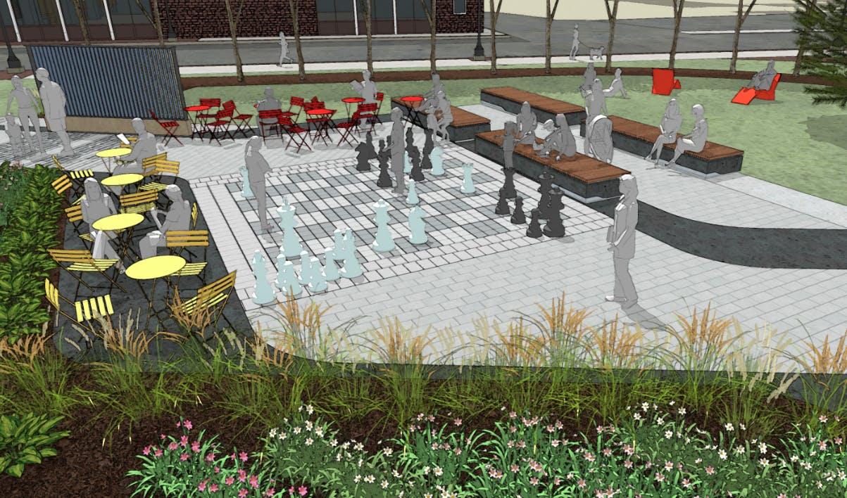 chess board and seating
