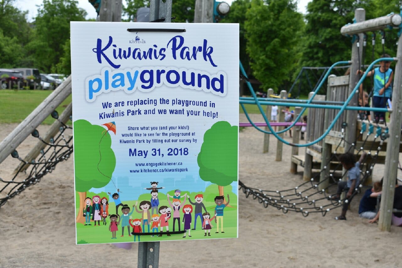 Kiwanis Park playground replacement sign