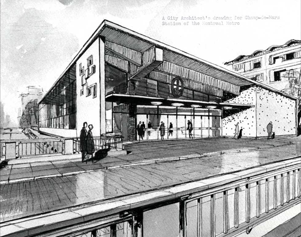 Vue de la station de métro du Champ-de-Mars en 1954