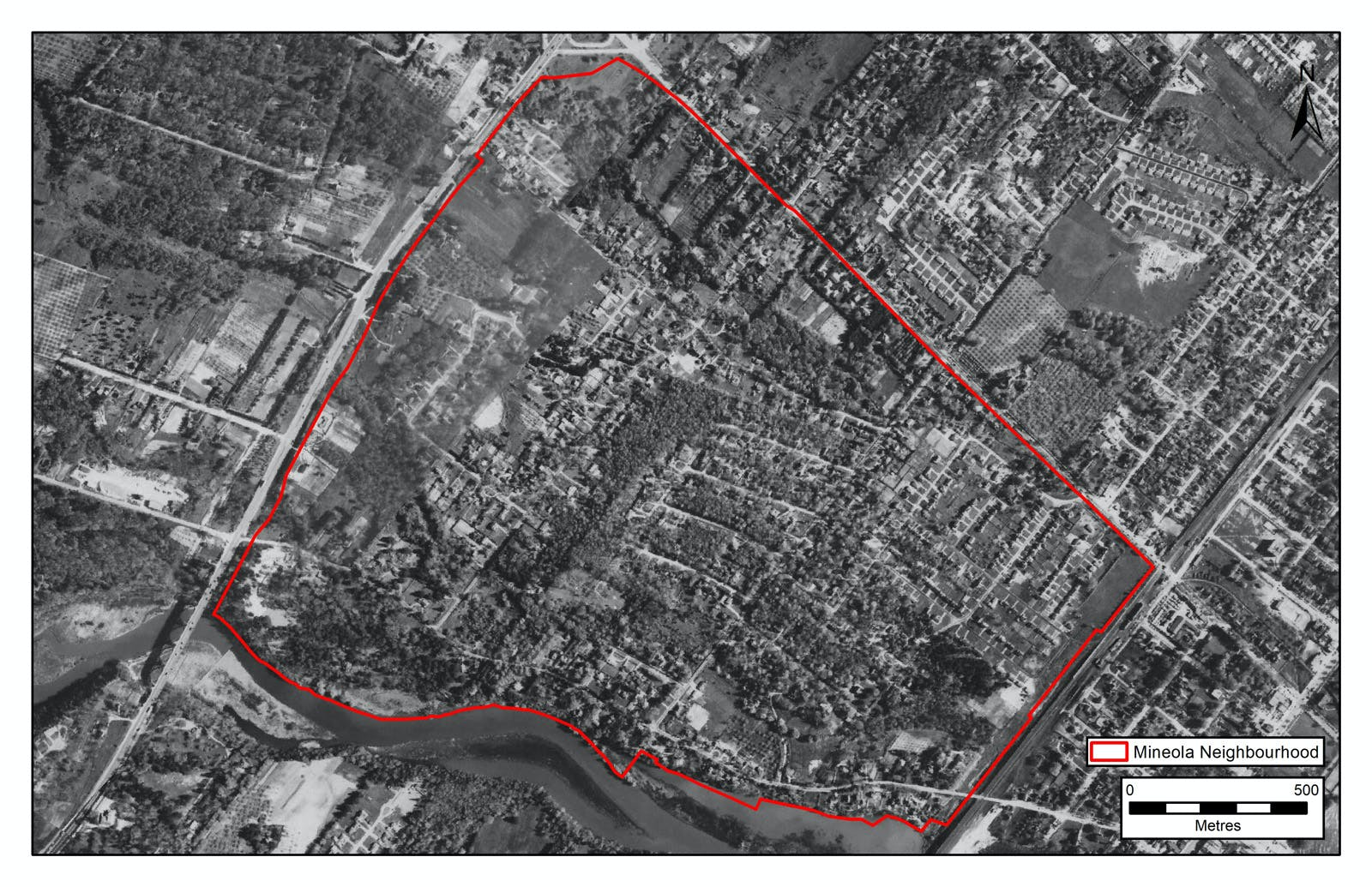 Aerial photograph of the community taken in 1954