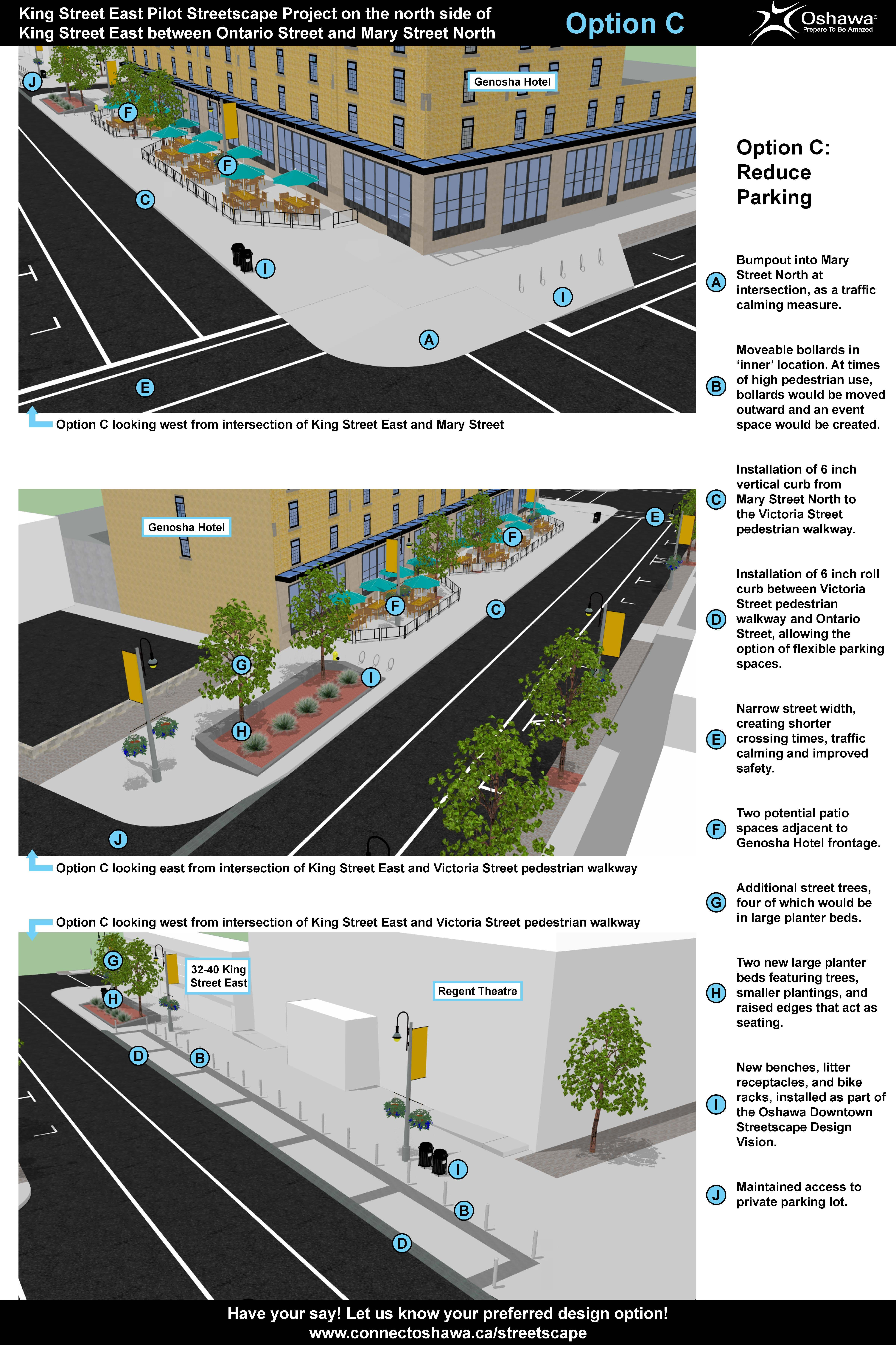 Option C (Reduced/Flexible 6 Parking): King Street East streetscape project