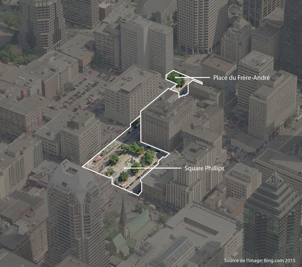 Square Phillips et Place du Frère-André