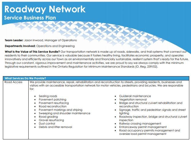 Roadway Network Service