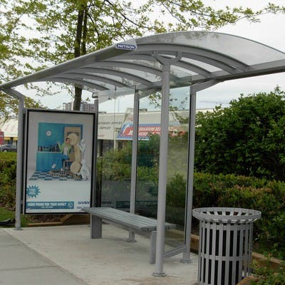 Privately-owned updated transit shelter with advertising