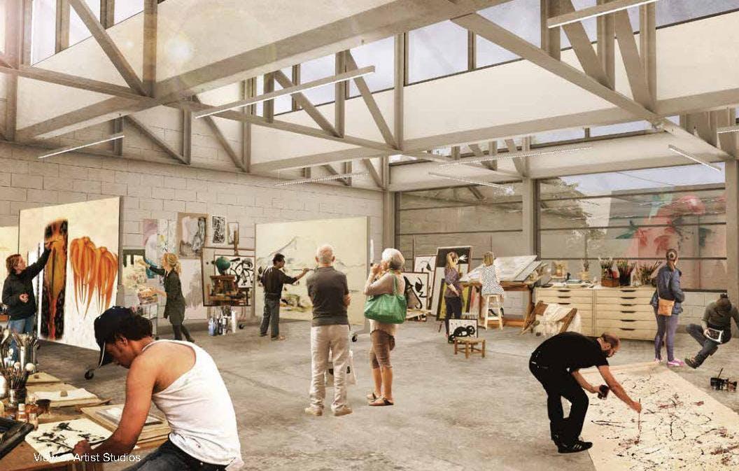 View of artists studios