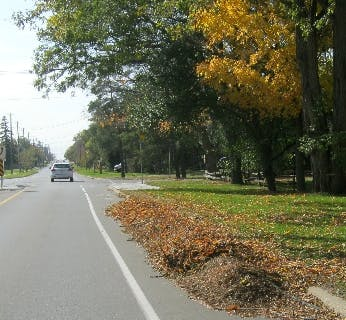 Leaves raked on cycling lanes are hazardous to cyclists.