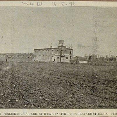 Église Saint-Édouard et partie de la rue Saint-Denis, 16 mai 1896