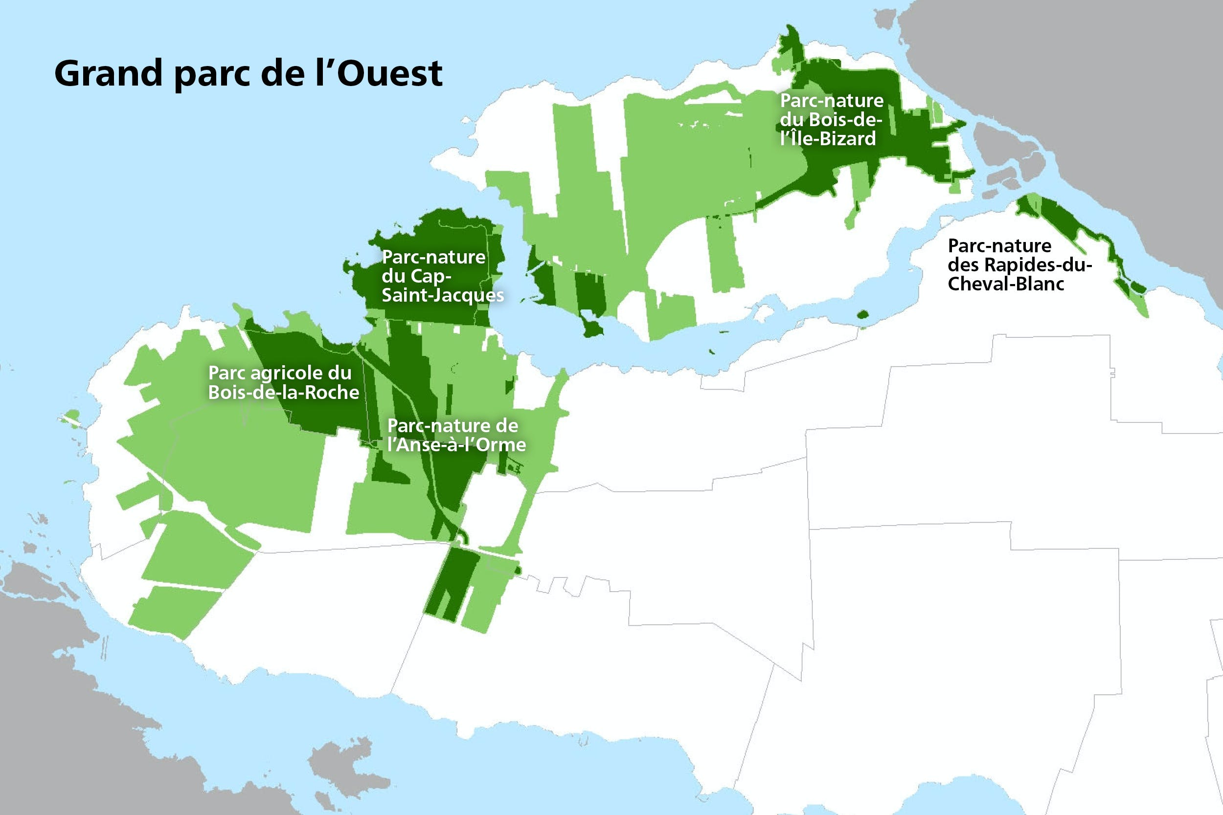 Carte du Grand parc de l'Ouest
