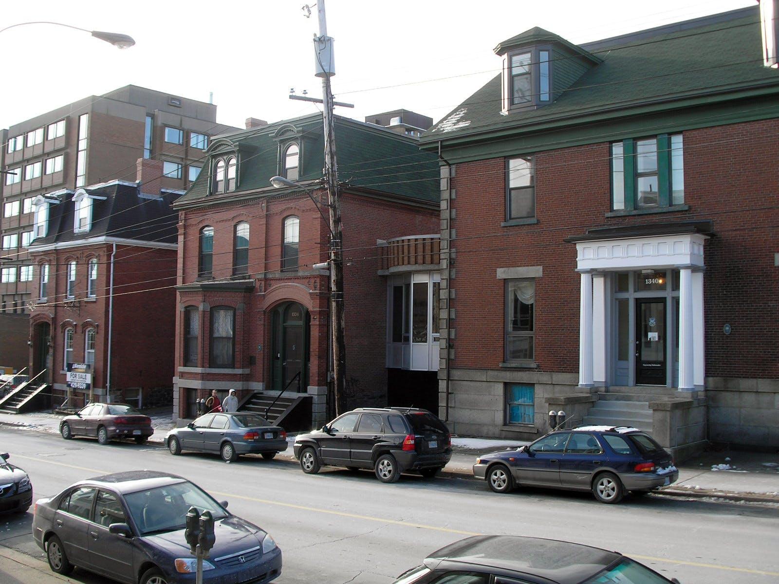 Three brick buildings along Barrington Street