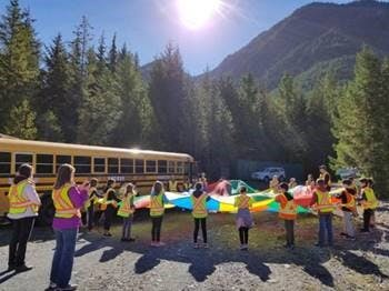 Beautiful day for a school field trip in the upper reaches of the Nanaimo River Watershed!