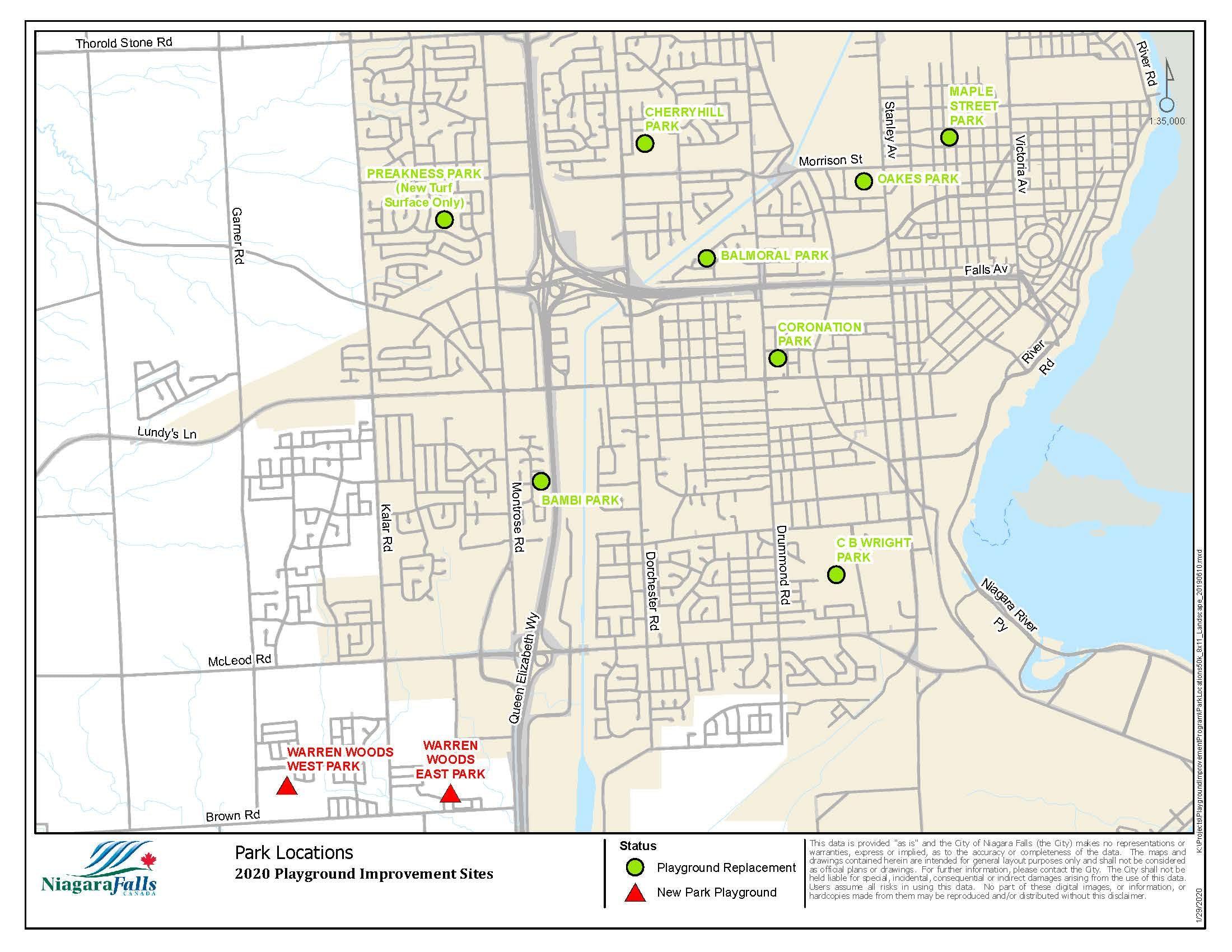 2020 Playground Improvement Sites: Park Locations