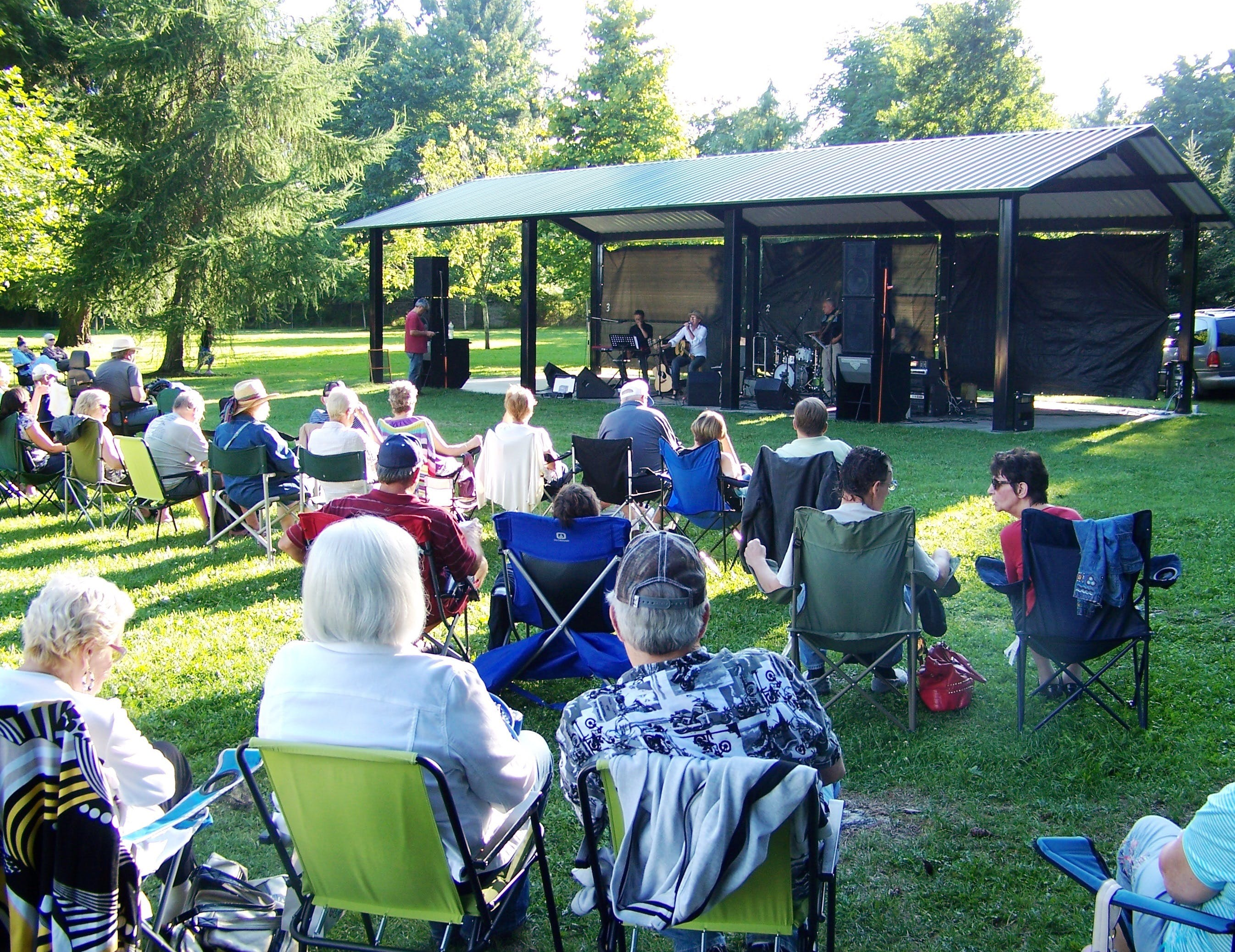 Entertainment at the picnic shelter