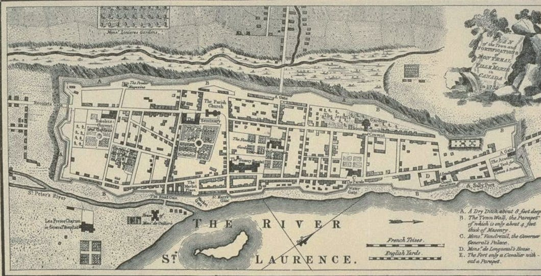 S.A Map of Montréal in 1758 before the Capitulation
