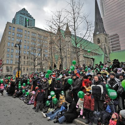 Crowds waiting for the St. Patrick's Day Parade