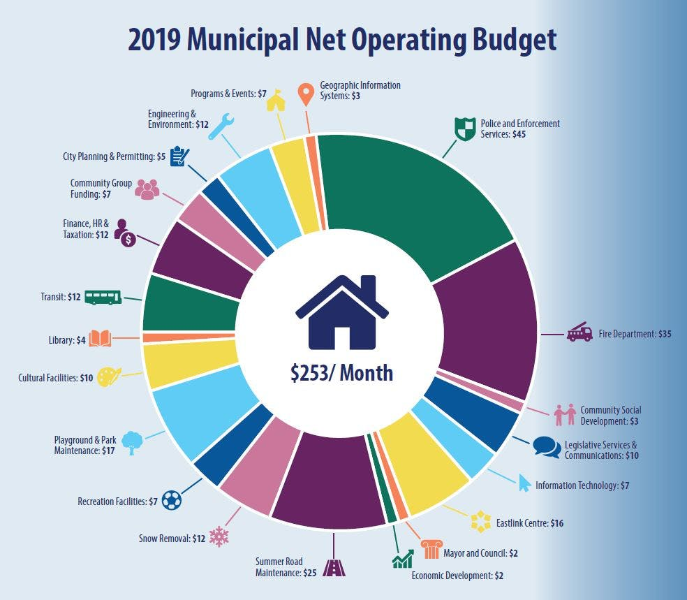 2019 Net Operating Budget Costs Per Month