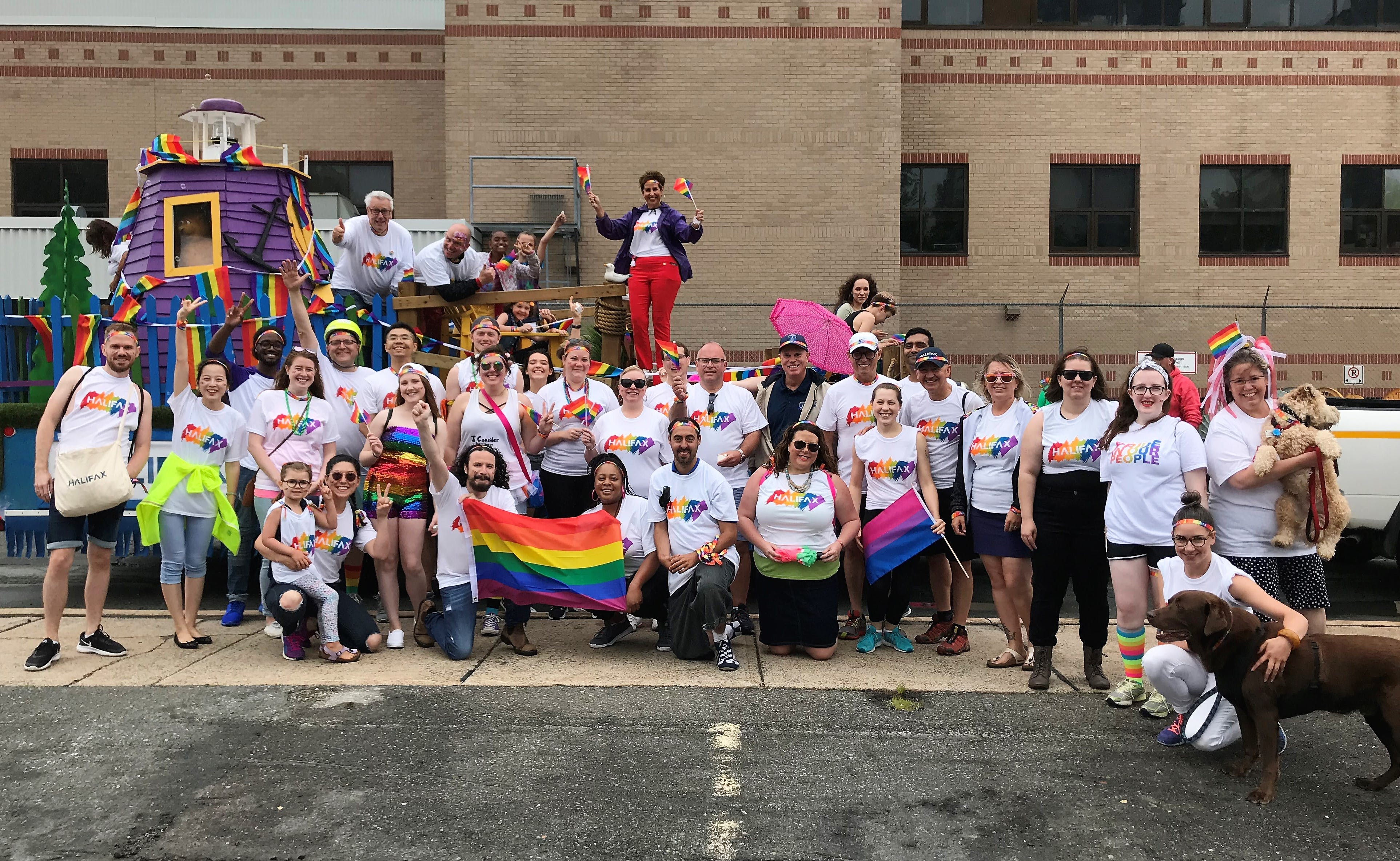 Halifax Regional Municipality employees celebrating at the Halifax Pride Parade, July 2018
