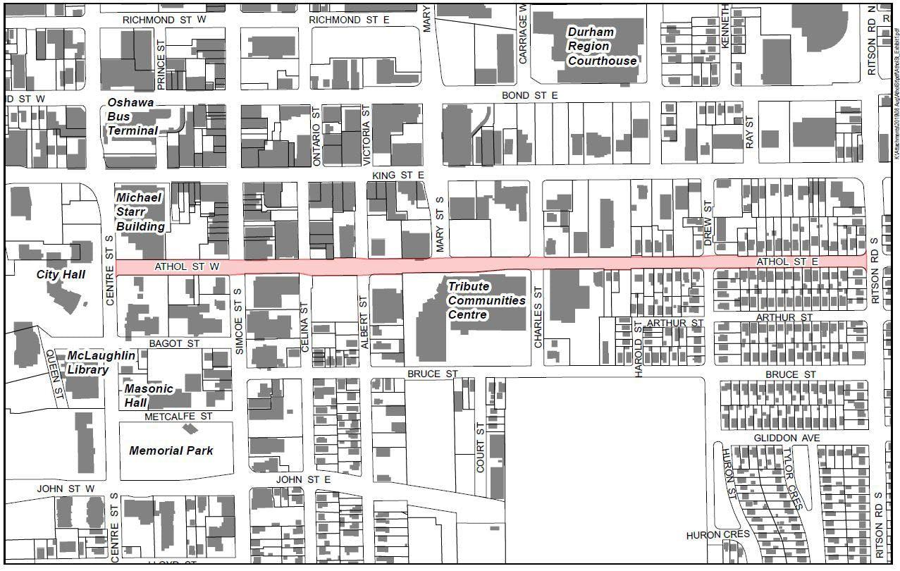 Proposed Street Renaming Map Of Downtown Oshawa