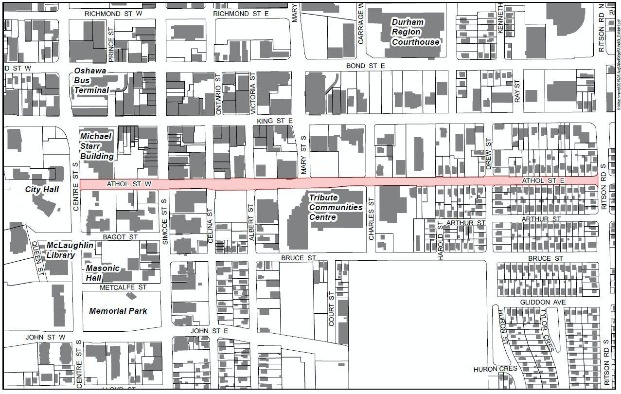 Proposed Street Renaming Map Of Downtown Oshawa