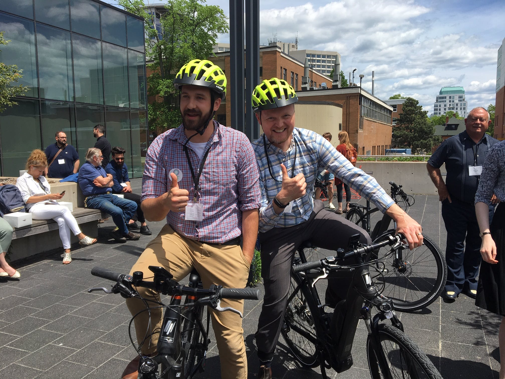 HalifACT team members Kevin and Alex try out an e-bike!