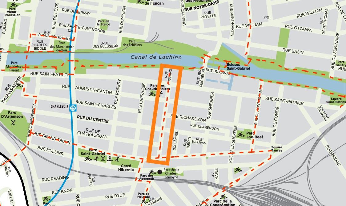 carte de localisation de la rue Island