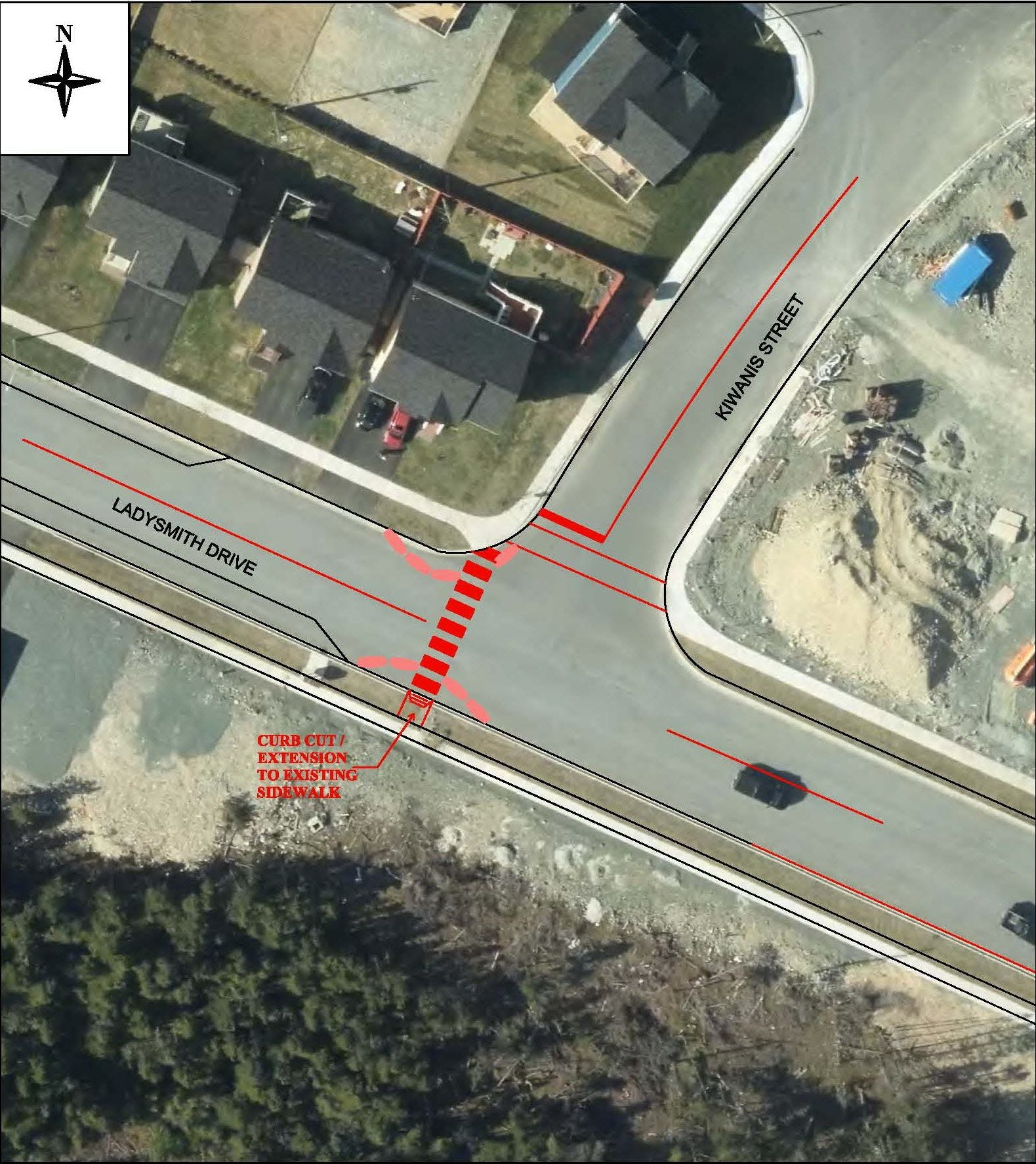 Ladysmith Drive and Kiwanis Street – Curb Extensions and Crosswalk
