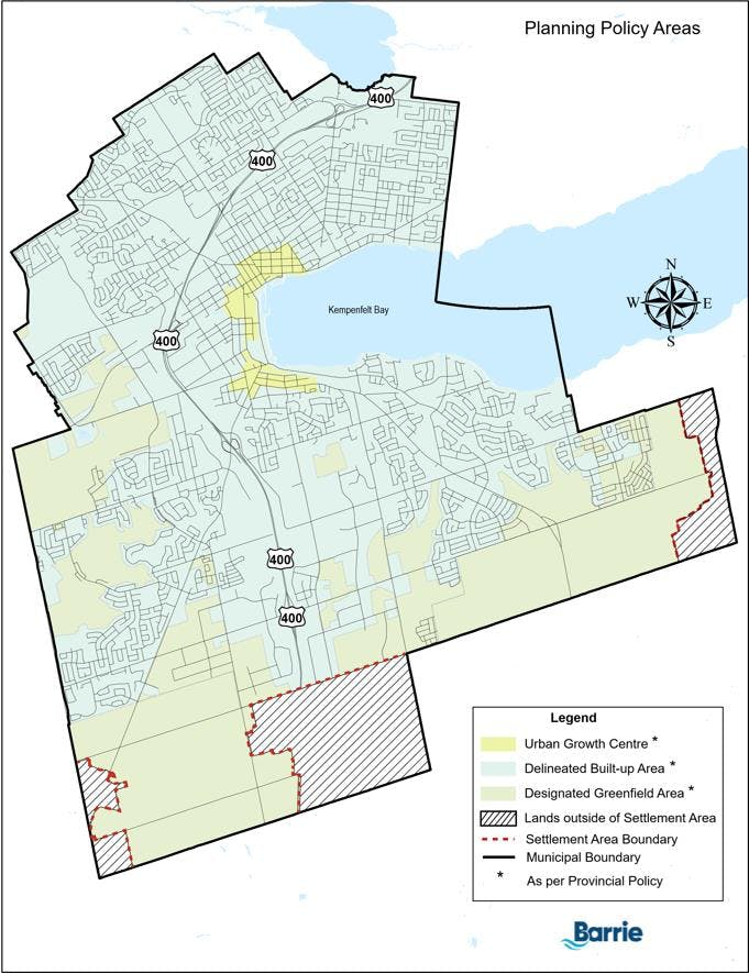 City of Barrie Policy Area Map