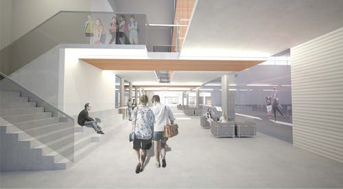 Rendering: Enclosed breezeway - lower level