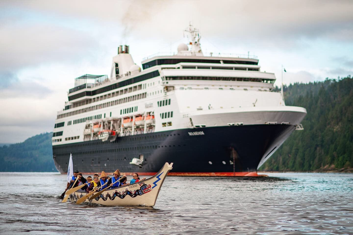 Tseshaht First Nation welcoming the MS Maasdam to Port Alberni