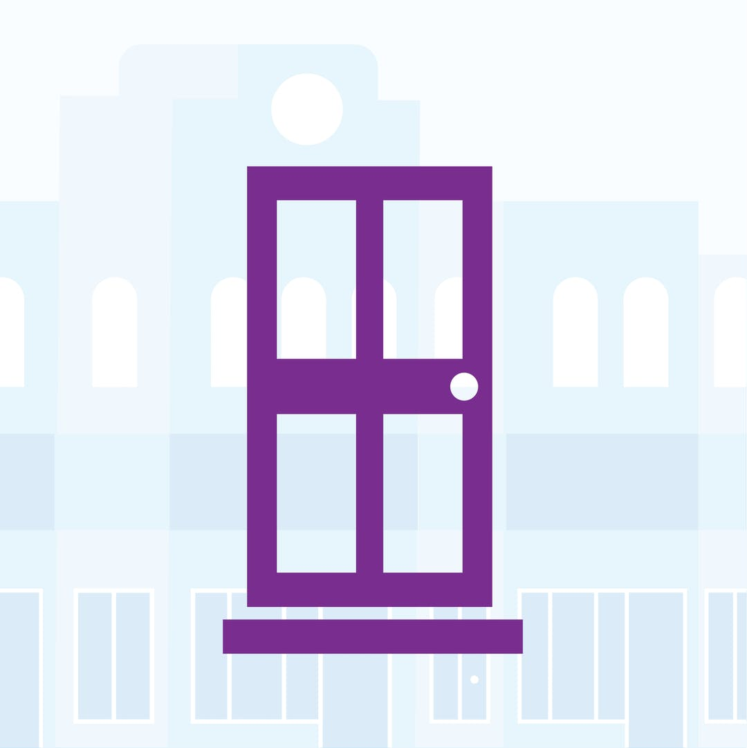 a purple door with a greyscale cityscape background