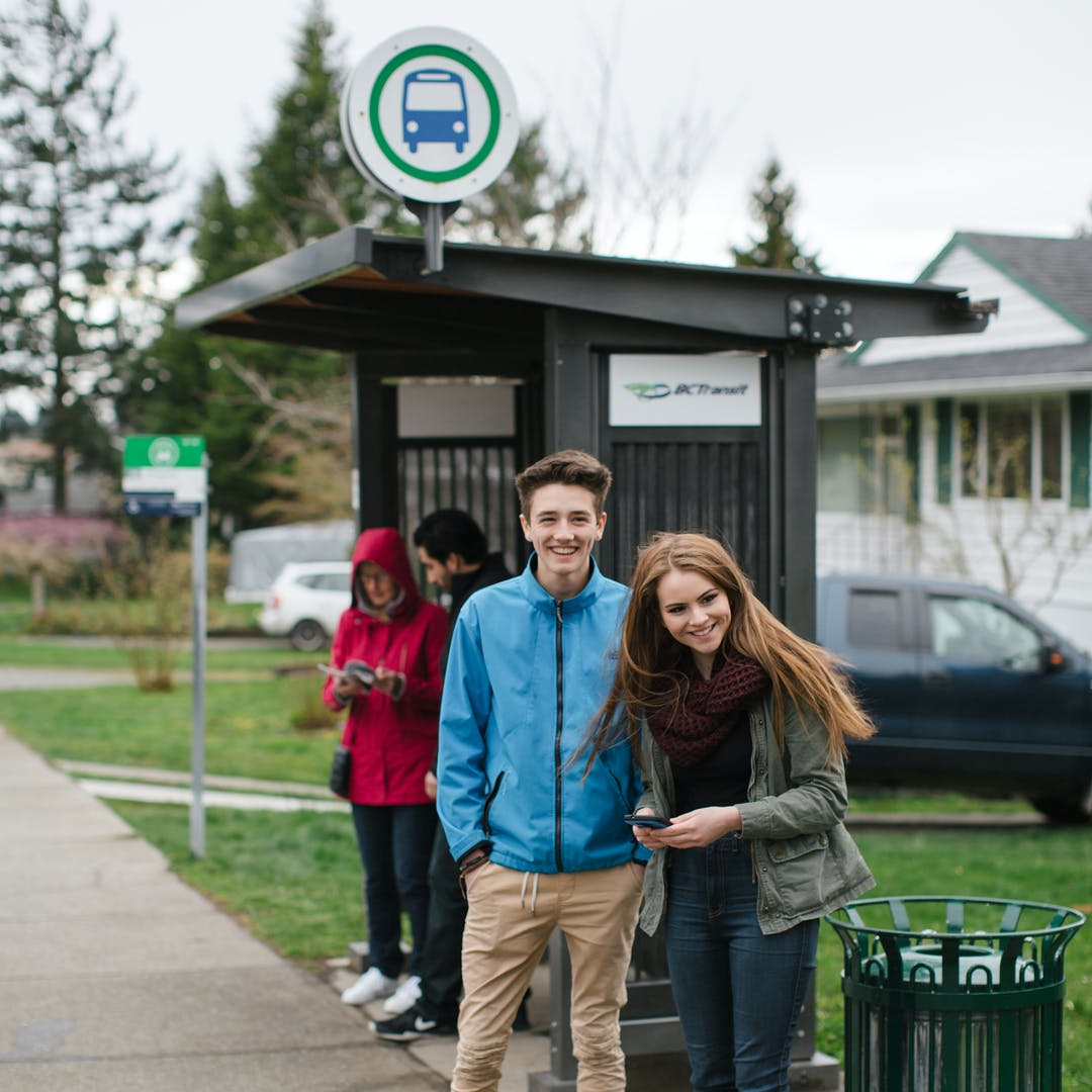 BC Transit Shelter with Riders
