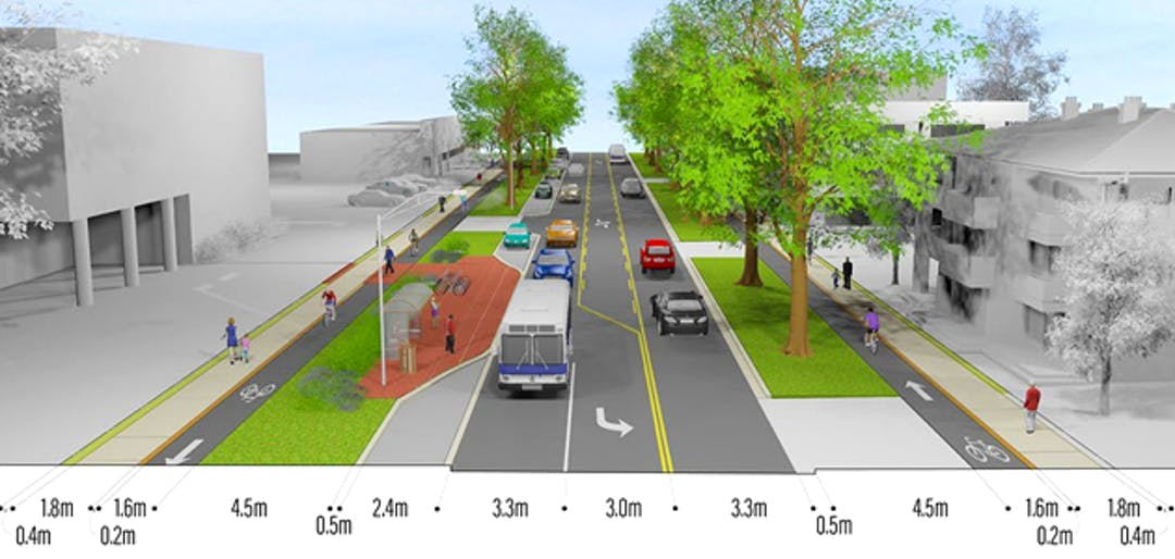 A street is shown with dimensions of elements for pedestrians, cyclists, transit, motor vehicles and greenery.