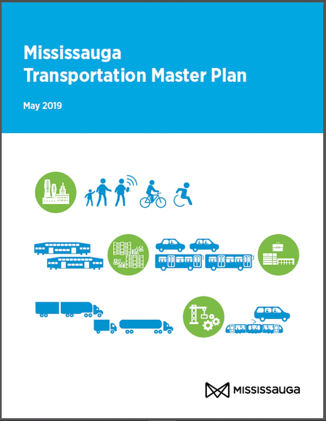 Image of the document cover for the Mississauga Transportation Master Plan, features icons of movement by walking, cycling, rolling in a wheelchair, ridehailing as well as cars, trucks, buses and train cars.