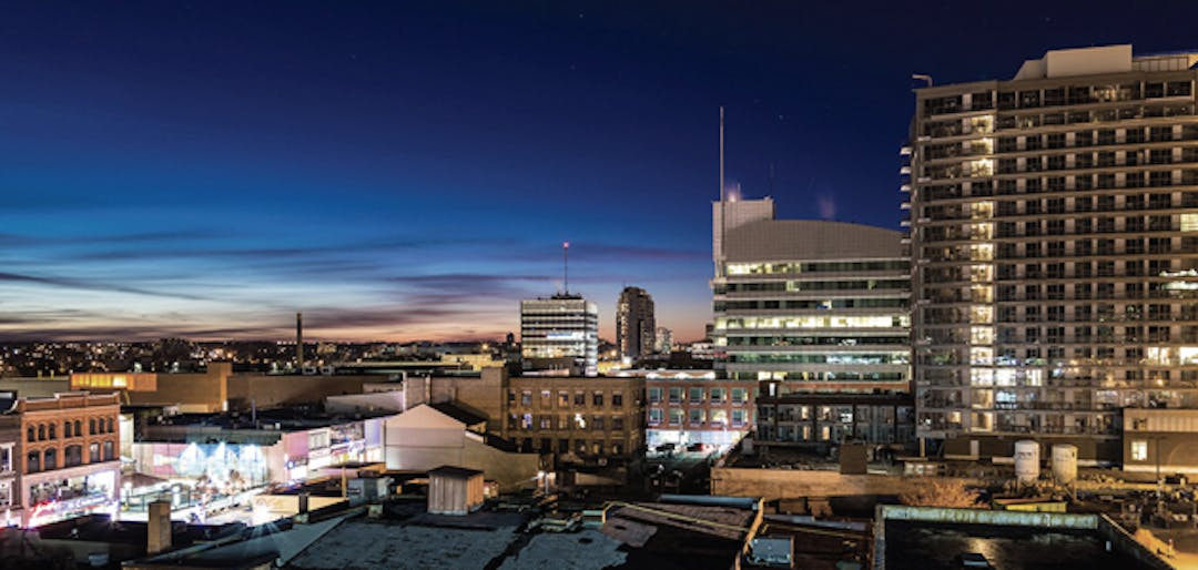The downtown Kitchener skyline light up at night.