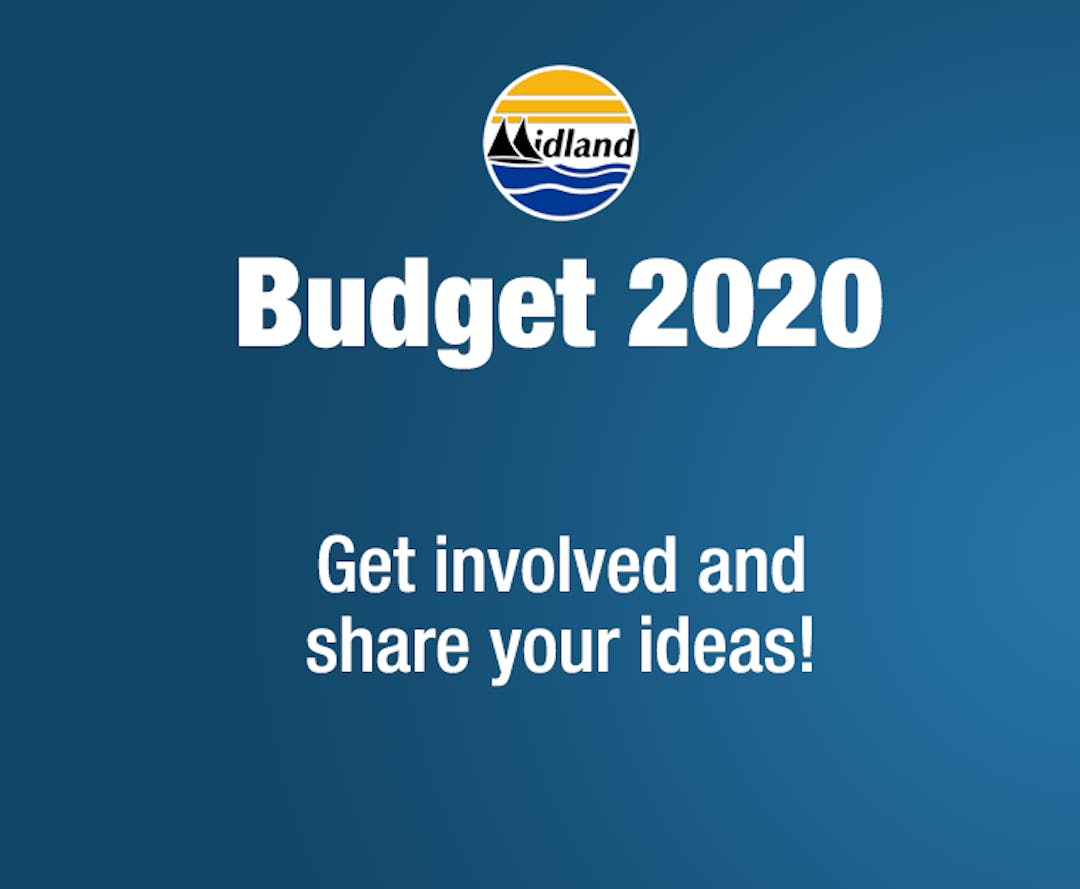 "Town of Midland logo with ""Budget 2020, Get involved and share your ideas!"" written below it."