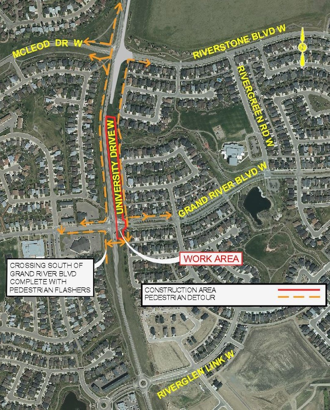 Detour map for Phase 4a - Closure of Grand River Blvd West Pedestrian Crossing