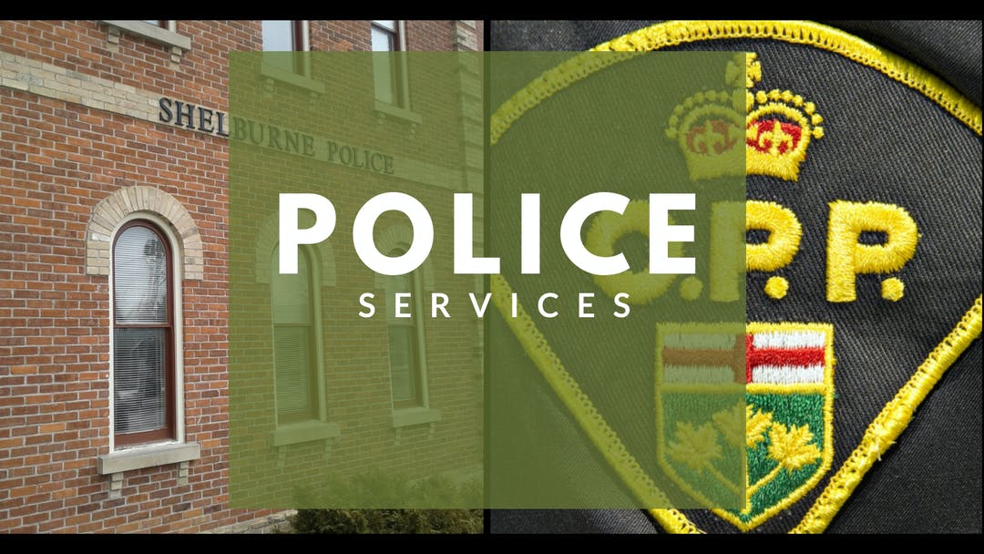 Split image of Shelburne Police station and OPP crest with text Police Services