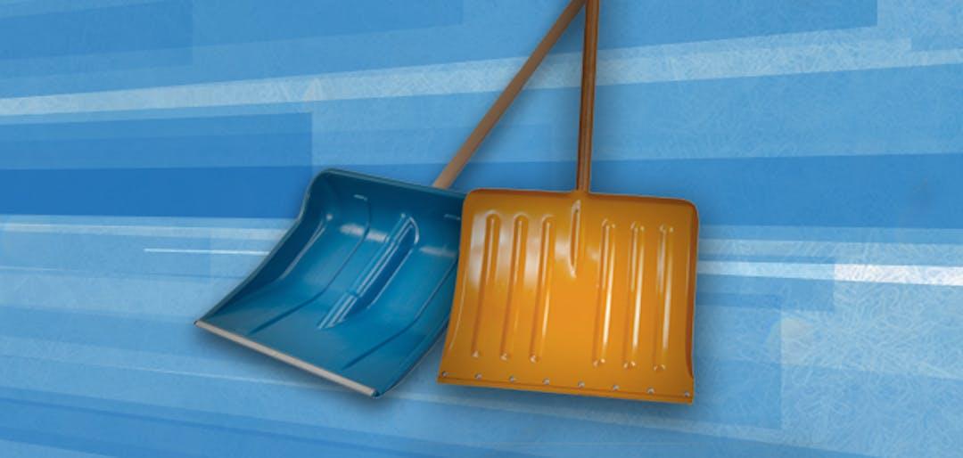 two winter shovels - one blue, one orange
